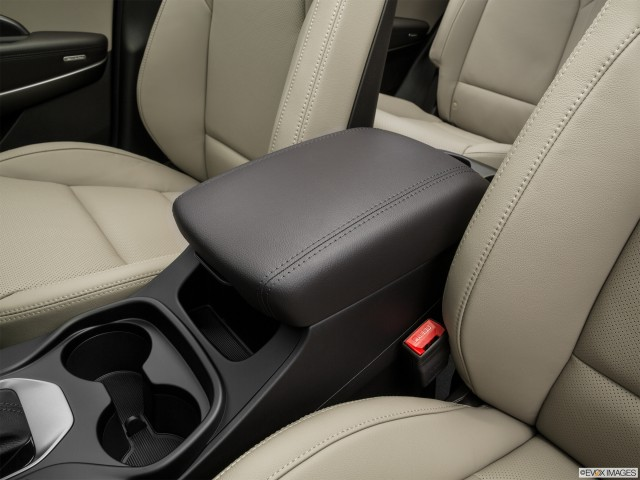 Front center console with closed lid, from drivers side looking down