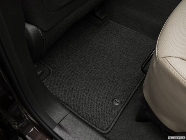 Rear drivers side floor mat. Mid-seat level from outside looking in.